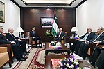 Palestinian President Mahmoud Abbas meets with US envoy to the peace process Kouchner, in the West Bank city of Ramallah, on June 21, 2017. Photo by Thaer Ganaim