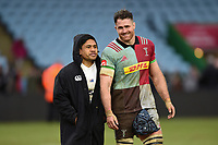 Ben Tapuai of Bath Rugby and James Horwill of Harlequins have a chat after the match. Aviva Premiership match, between Harlequins and Bath Rugby on March 2, 2018 at the Twickenham Stoop in London, England. Photo by: Patrick Khachfe / Onside Images
