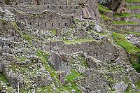 Peru, Machu Picchu, Western Urban Sector.  Note Bracing to Prevent Wall Collapse, left side.