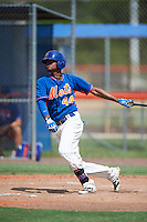 GCL Mets designated hitter Jose Miguel Medina (44) at bat during the first game of a doubleheader against the GCL Marlins on July 24, 2015 at the St. Lucie Sports Complex in St. Lucie, Florida.  GCL Marlins defeated the GCL Mets 5-4.  (Mike Janes/Four Seam Images)