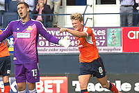 Cameron McGeehan of Luton Town celebrates hsi first goal during the Sky Bet League 2 match between Luton Town and Doncaster Rovers at Kenilworth Road, Luton, England on 24 September 2016. Photo by Liam Smith.