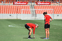 Houston, TX - Sunday Oct. 09, 2016: Alanna Kennedy, Abby Erceg prior to a National Women's Soccer League (NWSL) Championship match between the Washington Spirit and the Western New York Flash at BBVA Compass Stadium.