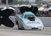 Apr. 26, 2013; Baytown, TX, USA: NHRA top alcohol funny car driver Steve Burck during qualifying for the Spring Nationals at Royal Purple Raceway. Mandatory Credit: Mark J. Rebilas-