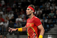 12th January 2020; Sydney Olympic Park Tennis Centre, Sydney, New South Wales, Australia; ATP Cup Australia, Sydney, Day 10; Serbia versus Spain; Novak Djokovic of Serbia versus Rafael Nadal of Spain; Rafael Nadal of Spain questions a call with the umpire - Editorial Use