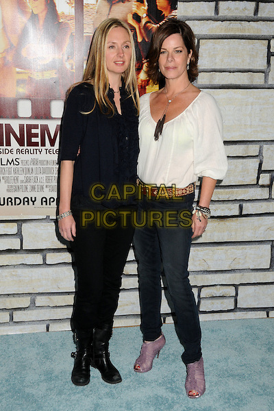 "HOPE DAVIS & MARCIA GAY HARDEN .HBO Films' ""Cinema Verite"" Los Angeles Premiere held at Paramount Studios, Los Angeles, California, USA,.11th April 2011..full length top jeans belt purple open toe shoes peep ankle boots bracelets  tassels  necklace white top  black navy blue shirt blouse ruffle trousers biker .CAP/ADM/BP.©Byron Purvis/AdMedia/Capital Pictures."
