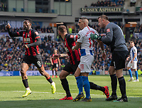 Brighton & Hove Albion's Anthony Knockaert (centre) hounded by Bournemouth's Artur Boruc (right) after his dangerous challenge on Bournemouth's Adam Smith resulting in a red red<br /> <br /> Photographer David Horton/CameraSport<br /> <br /> The Premier League - Brighton and Hove Albion v Bournemouth - Saturday 13th April 2019 - The Amex Stadium - Brighton<br /> <br /> World Copyright © 2019 CameraSport. All rights reserved. 43 Linden Ave. Countesthorpe. Leicester. England. LE8 5PG - Tel: +44 (0) 116 277 4147 - admin@camerasport.com - www.camerasport.com