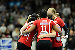 Rüsselsheim, Germany, April 13: Rote Raben Vilsbiburg celebrate after winning the play off Game 1 in the best of three series in the semifinal of the DVL (Deutsche Volleyball-Bundesliga Damen) season 2013/2014 between the VC Wiesbaden and the Rote Raben Vilsbiburg on April 13, 2014 at Grosssporthalle in Rüsselsheim, Germany. Final score 0:3 (Photo by Dirk Markgraf / www.265-images.com) *** Local caption ***