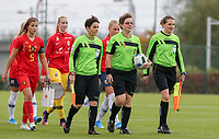 20191101 - Tubize: Referee and her assistant referees entering the pitch pictured during the international friendly match between Red Flames U16 (Belgium) and Norway U16 on 1 November 2019 at Belgian Football Centre, Tubize. PHOTO:  SPORTPIX.BE   SEVIL OKTEM