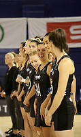JOHANNESBURG, SOUTH AFRICA - JANUARY 28: The Silver Ferns line up for the anthems before the Netball Quad Series netball match between Diamonds and Silver Ferns at the Ellis Park Arena in Johannesburg. Mandatory Photo Credit: ©Reg Caldecott/Michael Bradley Photography