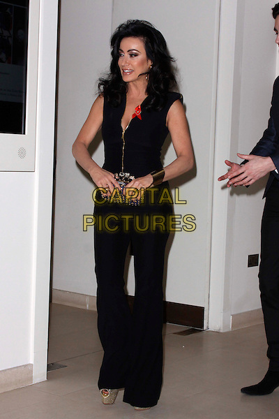 Nancy Dell'Olio.attended the Terrence Higgins Trust 30th Anniversary Auction, Christie's King Street Saleroom, King St., London, England, UK, 21st March 2013..full length black top catsuit zip gold low cut trousers side gold cuff wide leg .CAP/AH.©Adam Houghton/Capital Pictures.
