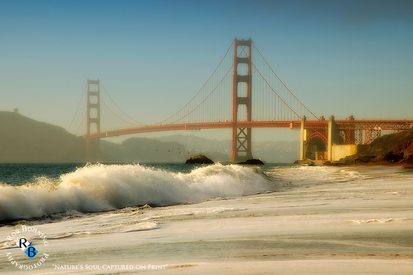 Waves rolling in on Baker Beach just south of the Golden Gate Bridge in San Francisco