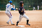 #24 Ayuri Ikemoto of Japan runs after bat during the BFA Women's Baseball Asian Cup match between South Korea and Japan at Sai Tso Wan Recreation Ground on September 2, 2017 in Hong Kong. Photo by Marcio Rodrigo Machado / Power Sport Images