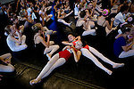 Marcella Bertolino, 8, (left) and Gabrielle Airola, 7, (right) take a break from auditions for the Sacramento Ballet's Nutcracker production on Sunday, September 10, 2006. (Photo by Max Whittaker)