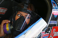 Feb 8, 2015; Pomona, CA, USA; NHRA top fuel driver Leah Pritchett during the Winternationals at Auto Club Raceway at Pomona. Mandatory Credit: Mark J. Rebilas-