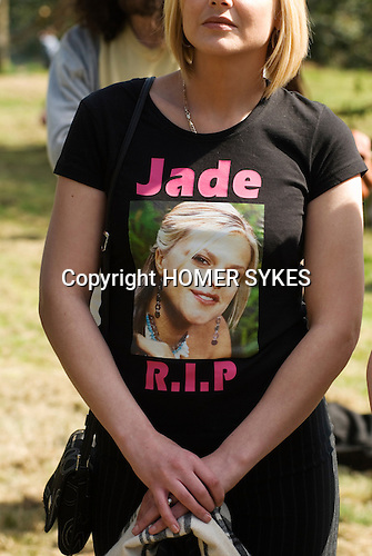 Jade Goody Funeral April 4 2009. TV Reality Star funeral service well wishers gather outside St Johns Chuch Buckhurst Hill Essex England.
