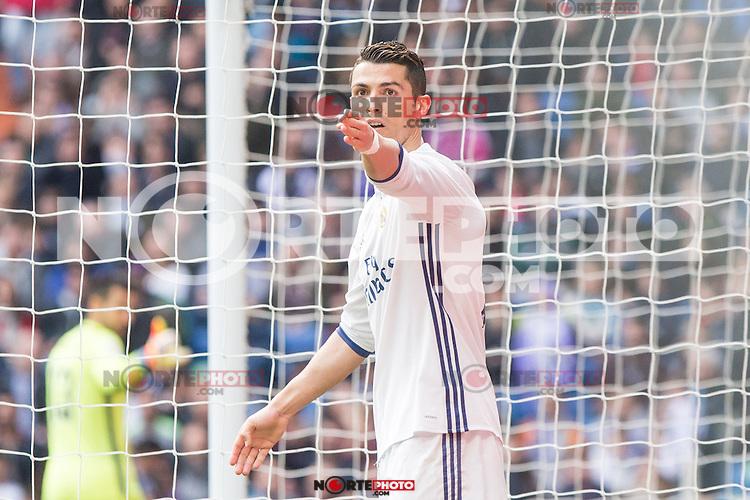 Cristiano Ronaldo of Real Madrid reacts during the match of La Liga between Real Madrid and RCE Espanyol at Santiago Bernabeu  Stadium  in Madrid , Spain. February 18, 2016. (ALTERPHOTOS/Rodrigo Jimenez) /Nortephoto.com