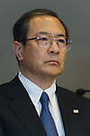 July 21, 2015, Tokyo, Japan - Toshiba Chairman of the Board Masashi Muromachi attends news conference at the company HQ in Tokyo on Tuesday, July 21, 2015. Toshiba President Hisao Tanaka and two other executives resigned to take responsibility for a $1.2 billion accounting scandal involving inflating its profit over several years. (Photo by AFLO)
