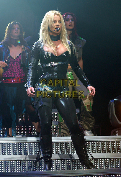 BRITNEY SPEARS.performs live for her opening show of Onyx Hotel Tour 2004 held at San Diego Sports Arena in San Diego, California .02 March 2004.*UK Sales Only*.music,  gig, concert, singing, full length, full-length, leather pvc catsuit.www.capitalpictures.com.sales@capitalpictures.com.©Capital Pictures..