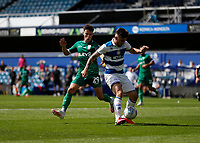 11th July 2020; The Kiyan Prince Foundation Stadium, London, England; English Championship Football, Queen Park Rangers versus Sheffield Wednesday; Alex Hunt of Sheffield Wednesday challenges Ryan Manning of Queens Park Rangers