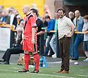 Alloa boss Paul Hartley shares a joke with Bob Malcolm as he comes on as a trialist for East Fife.