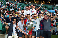 Alex Lozowski of Saracens celebrates with supporters and the Gallagher Premiership trophy after the match. Gallagher Premiership Final, between Exeter Chiefs and Saracens on June 1, 2019 at Twickenham Stadium in London, England. Photo by: Patrick Khachfe / JMP