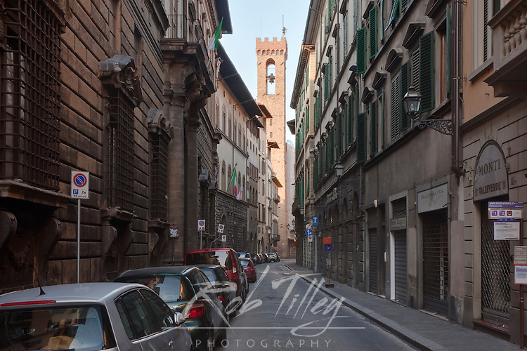 Europe, Italy, Tuscany, Florence, Street in Histroic District with Palazzo Vecchio in the Background