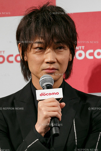 Actor Go Ayano speaks during the launch event for 8 new mobile devices for the summer lineup on May 24, 2017, Tokyo, Japan. DOCOMO introduced seven new smartphones and one tablet along with a new app and service plans. (Photo by Rodrigo Reyes Marin/AFLO)