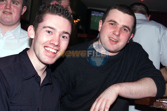 David Watters and Stephen Mulligan enjoying a night out in Shearman's, Dunleer..Picture: Paul Mohan/Newsfile
