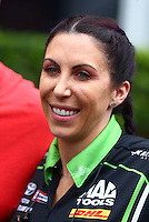 May 1, 2016; Baytown, TX, USA; NHRA funny car driver Alexis DeJoria during the Spring Nationals at Royal Purple Raceway. Mandatory Credit: Mark J. Rebilas-USA TODAY Sports