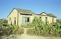 Langtry Texas Ghost Town, abandoned shed, surrounded by cactus and tumbleweed