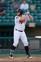Fresno Grizzlies first baseman AJ Reed (18) at bat during a Pacific Coast League game against the Salt Lake Bees at Chukchansi Park on May 14, 2018 in Fresno, California. Fresno defeated Salt Lake 4-3. (Zachary Lucy/Four Seam Images)