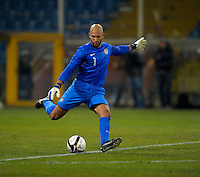 GENOVA, ITALY - February 29, 2012: Goalkeeper Tim Howard (USA)during the USA friendly match against Italy at the Stadium Luigi Ferraris in Genova, Italy.