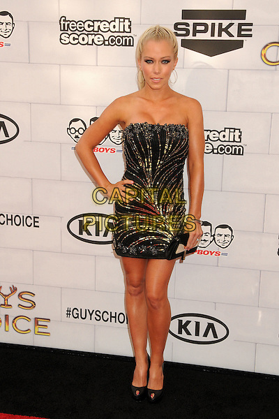 "Kendra Wilkinson.Spike TV's 6th Annual ""Guys Choice"" Awards held at Sony Pictures Studios, Culver City, California, USA, .2nd June 2012..full length hand on hip dress clutch bag  black strapless hair up plait braid  beauty gold beaded sequined sequin hoop earrings ponytail peep toe shoes tanned fake tan .CAP/ADM/BP.©Byron Purvis/AdMedia/Capital Pictures."
