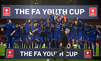 Celebrations after Chelsea win the Trophy during the FA Youth Cup FINAL 2nd leg match between Arsenal and Chelsea at the Emirates Stadium, London, England on 30 April 2018. Photo by Andy Rowland.