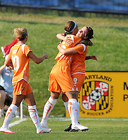 Skyblue FC forward Natasha Kai celebrates her goal with teammates. The Skyblue FC defeated the Washington Freedom 2-1 in first round of WPS playoffs at the Maryland Soccerplex, Saturday, August 15, 2009.