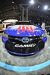 A red, white and blue Toyota Camry, with MADE IN AMERICA written on its side, is on display at the New York International Auto Show 2016, at the Jacob Javits Center. This was Press Preview Day one of NYIAS, and the Trade Show will be open to the public for ten days, March 25th through April 3rd.