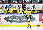 Huddinge 2015-09-20 Ishockey Division 1 Huddinge Hockey - S&ouml;dert&auml;lje SK :  <br /> S&ouml;dert&auml;ljes Karl Olofsson firar sitt 0-1 m&aring;l med lagkamrater under matchen mellan Huddinge Hockey och S&ouml;dert&auml;lje SK <br /> (Foto: Kenta J&ouml;nsson) Nyckelord:  Ishockey Hockey Division 1 Hockeyettan Bj&ouml;rk&auml;ngshallen Huddinge S&ouml;dert&auml;lje SK SSK jubel gl&auml;dje lycka glad happy