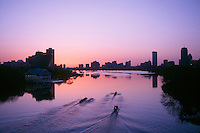 Rowing shells before sunrise, Charles River, Boston, MA