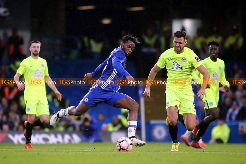 Michy Batshuayi of Chelsea gets ready to take a shot at the Peterborough goal during Chelsea vs Peterborough United, Emirates FA Cup Football at Stamford Bridge on 8th January 2017