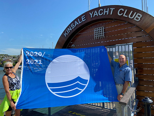 Kinsale Yacht Club Marina's Blue Flag for 2020 is unfurled in the West Cork town