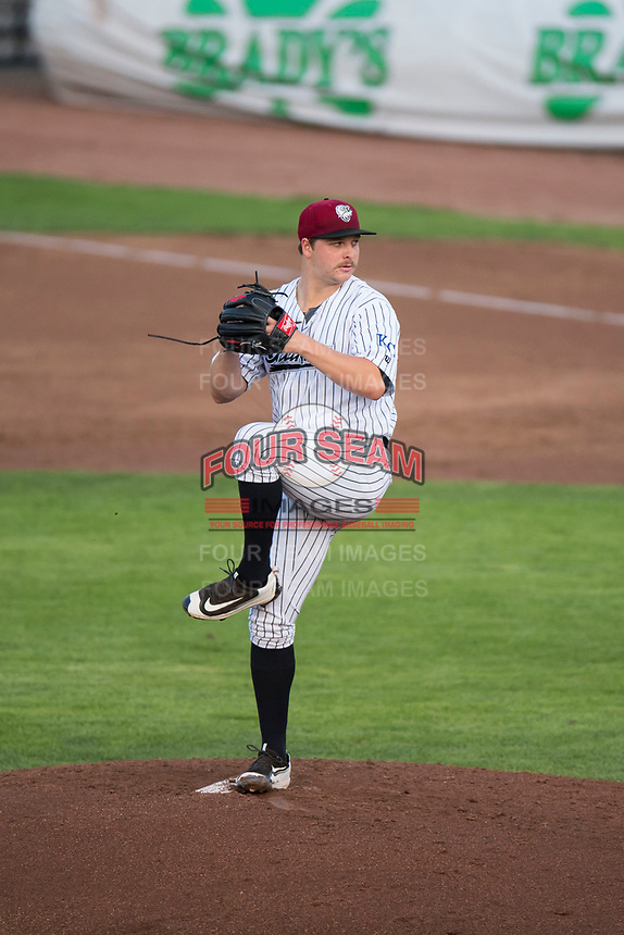 Idaho Falls Chukars starting pitcher Jon Heasley (51) delivers a pitch during a Pioneer League game against the Great Falls Voyagers at Melaleuca Field on August 18, 2018 in Idaho Falls, Idaho. The Idaho Falls Chukars defeated the Great Falls Voyagers by a score of 6-5. (Zachary Lucy/Four Seam Images)