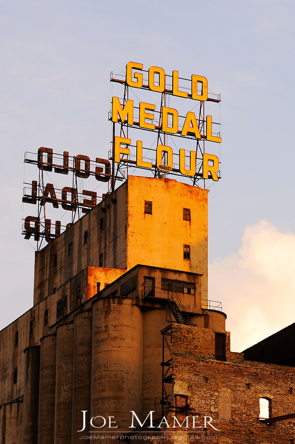 Pillsbury Gold Medal Flour sign atop the Mill City Museum in downtown Minneapolis, Minnesota.