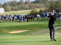 17.10.2014. The London Golf Club, Ash, England. The Volvo World Match Play Golf Championship.  Day 3 group stage matches.  Jamie Donaldson (WAL) second shot, third hole