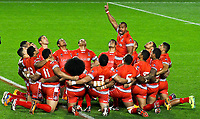 Picture by Alex Whitehead/SWpix.com - 05/11/2013 - Rugby League - Rugby League World Cup - Tonga v Cook Islands - Leigh Sports Village, Leigh , England - Tonga perform their Haka. Rugby League World Cup 2013 re edited 11/10/2017 Best Of