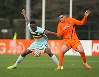 20170314 - UDEN , NETHERLANDS : Dutch Dogucan Haspolat (R) and Belgian Mohamed Loua (L) pictured during the UEFA Under 17 Elite round game between The Netherlands U17 and Belgium U17, on the first matchday in group 5 of the Uefa Under 17 elite round in The Netherlands , tuesday 14 th March 2017 . PHOTO SPORTPIX.BE | DIRK VUYLSTEKE