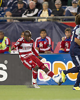 FC Dallas defender Jair Benitez (5) passes the ball. In a Major League Soccer (MLS) match, the New England Revolution defeated FC Dallas, 2-0, at Gillette Stadium on September 10, 2011.