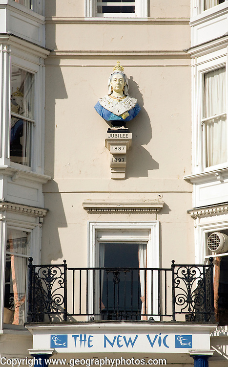 Queen Victoria bust on the New Vic building, Weymouth, Dorset, England