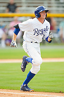 Kevin Kuntz (29) of the Burlington Royals hustles down the first base line against the Greeneville Astros at Burlington Athletic Park on July 1, 2013 in Burlington, North Carolina.  The Astros defeated the Royals 7-0 in Game One of a doubleheader.  (Brian Westerholt/Four Seam Images)