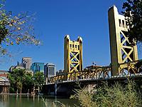 The Tower Bridge leading into downtown Sacramento, CA, US.