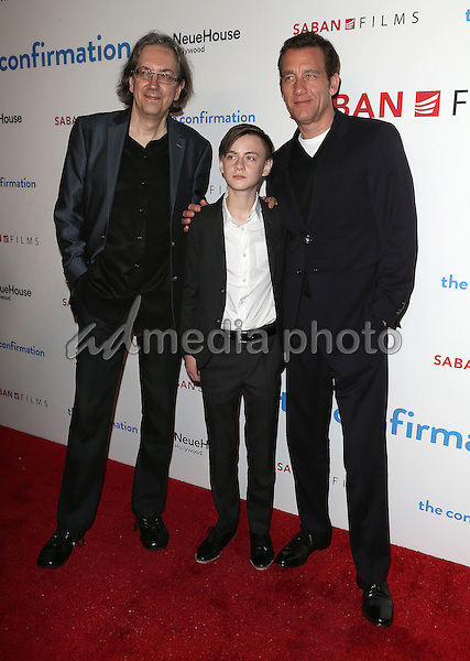 """15 March 2016 - Hollywood, California - Bob Nelson, Jaeden Lieberher, Clive Owen. """"The Confirmation"""" Los Angeles Premiere held at NeueHouse Hollywood. Photo Credit: Sammi/AdMedia"""